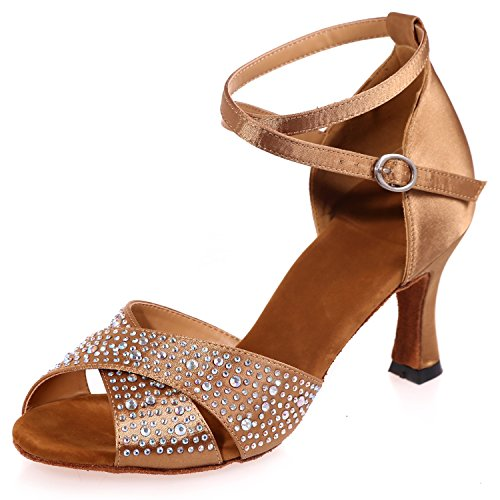 5cm Toe 7 Seta Strass Mid Tacco Brown A8349 Ballo di Scarpe Glitter Heel Elobaby Jazz da Sandali da Donna con q1paxXwZ