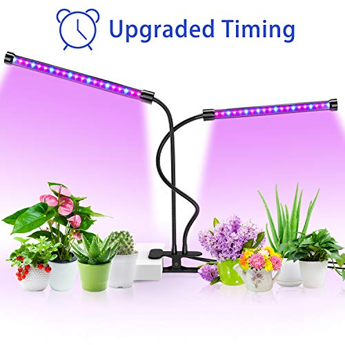 Grow Light for Indoor Plant,Balleen.E 36 LED 5-Level Dimmable Timing Grow Lamp Bulbs, 18W Dual Head Gooseneck Plant Light for Seedling Succulent Hydroponics Greenhouse Gardening