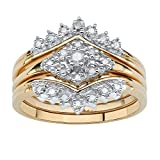 White Diamond 18k Gold over .925 Silver 3-Piece Bridal Ring Set (.22 cttw, HI Color, I1-I2 Clarity) Size 8