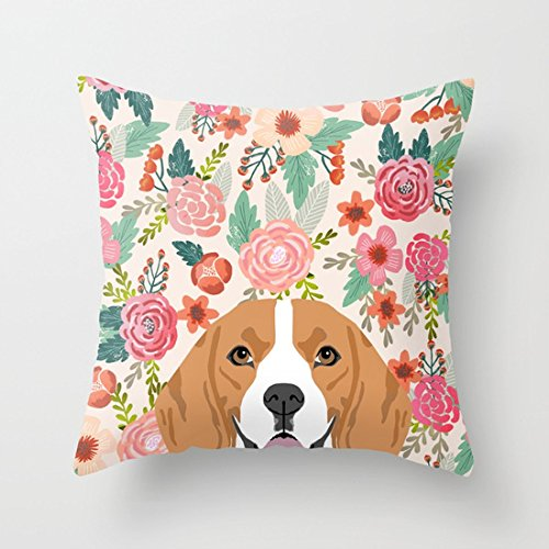 - UOOPOO Beagle Florals Cute Spring Pet Portrait Dog Lover Gift Idea Beagle Owners Must Haves Flower Power Cotton Canvas Pillow Case 18 x 18 Inches Square Cushion Cover One Side