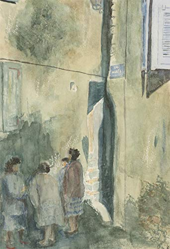 R.H. Barker - 20th Century Watercolour, Street Scene with Figures ()