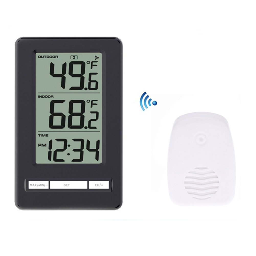 DAVEVY LCD Digital Thermometer Clock Indoor Outdoor 12H/24H Time Digital Wireless Digital Clock with Temperature Outdoor Transmitter for Home Office