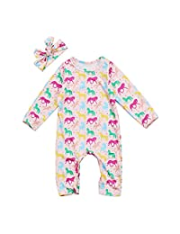 Infant Baby Girl Long Sleeve Romper Jumpsuit Horse One-piece Bodysuit with Headband