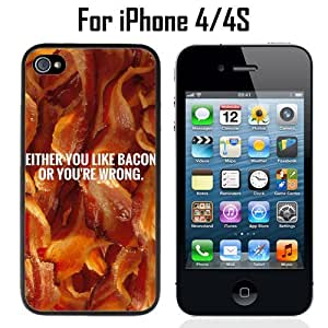 Funny Bacon Quote Custom Case/ Cover/Skin *NEW* Case for Apple iPhone 4/4S - Black - Plastic Case (Ships from CA) Custom Protective Case , Design Case-ATT Verizon T-mobile Sprint ,Friendly Packaging - Slim Case