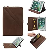 Boozuk Case for New iPad 9.7 Inch 2018/2017 with Apple Pencil Holder, Premium Leather Cover with Document Card Slots, Multiple Viewing Angles for Apple iPad5/iPad6/iPad Air/iPad Air 2 Tablet, Brown