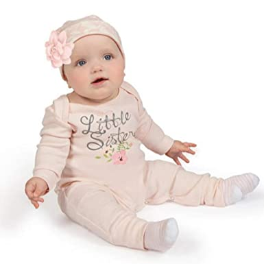 Shiningup Baby Girl Little Sister Jumpsuit Overall Bodysuit and Hat Headband 3 Pieces Outfit