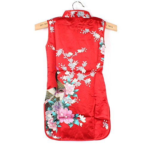 Froomer Girls Stand Collar Chinese Qipao Floral Peacock Dress Clothes ()