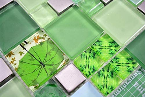 Transparentes Crystal Mosaik Glasmosaik silber gr/ün Wand Fliesenspiegel K/üche Dusche Bad MOS88-0517/_m