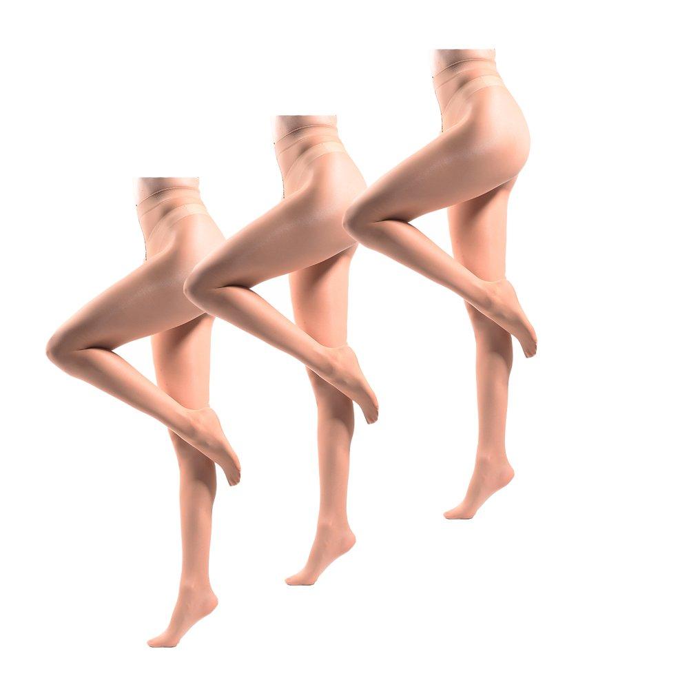 JIAYI Women's Sheer To Waist Sexy Silk Pantyhose Tights From S To XXXXL(Honey 3 Pairs)