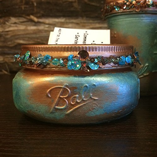 Turquoise-and-Copper-Patina-Hand-Painted-Mason-Jar-Office-Decor-5-Piece-Mason-Jar-Bathroom-Set