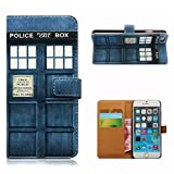 ANGELLA-M For Apple iphone 5 5S Case, Retro Police Box Style Premium Synthetic PU Leather & Hard PC Inner Solid Stand [Magnetic Closure] with Card Slot, Folio Wallet Case Cover.