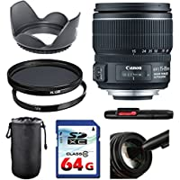 Canon EF-S 15-85mm f/3.5-5.6 IS USM Lens Bundle + UV Filter + Polarizer Filter + 2 In 1 Lens Cleaning Pen + High Speed 64GB Memory Card + Tulip Hood + Deluxe Lens Case