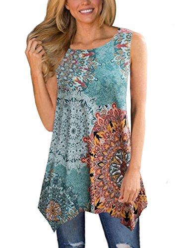 MIROL Womens Casual Summer Floral Print Sleeveless Irregular Hem Asymmetrical Loose Long Tunic Blouse Tops