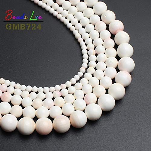 (Calvas Natural Pink Shell Coral Beads for Jewelry Making Round Beads DIY Bracelet Necklace Jewelry 15inches 4/6/8/10/12mm-(F01188) - (Item Diameter: 4mm 91pcs Beads))