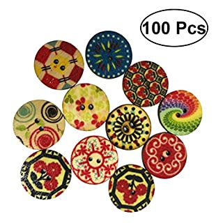 Healifty 100pcs Retro Wooden Buttons 2 Holes Round Sewing Buttons for Craft Embellishments (Assorted Paterns)
