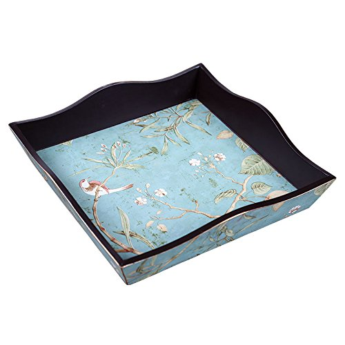 (BEYONDA 42 Decorative Decoupage Wooden Serving Tray Food Tray Fruit Tray without Handles Can Be Uses for Organizing Makeups Covering with Floral Collection By Hand Painting Delicate and Unique (blue))