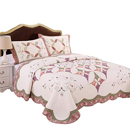 (White Birch Patchwork Comforter Set Queen Size - Embroidery 100% Cotton Fabric 90 x 90 inches)