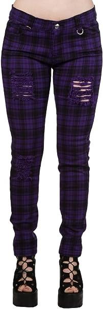 TALLA 26W. Banned Pantalones Ajustados Púrpura Tartán a Cuadros Rasgados EMO Punk