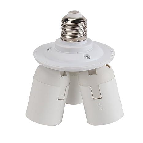 1 x E27 Base Enchufe Adaptador para Bombilla Lámpara LED E27 1 a 3