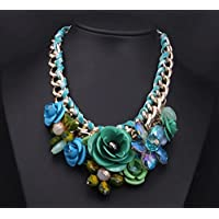 Easter Gift Girls Luxury Handmade Flowers Crystal Chain Clavicle Necklace Gem Sweater Chain, Personal Necklace Fans Must-have, the Best Christmas Gift (Blue, green)