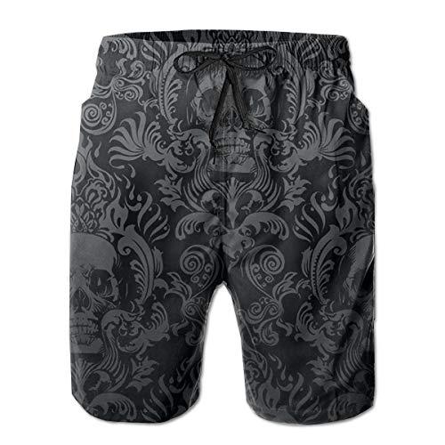 Feimao Victorian Gothic Black Skull Damask Men's Board Shorts Summer Casual Short Pants with Pockets ()