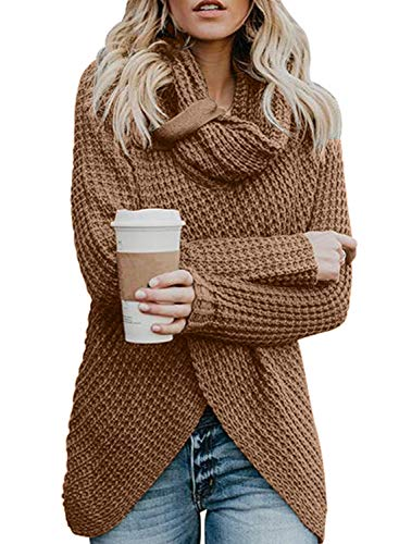 Asvivid Women's Lightweight Turtle Cowl Neck Asymmetric Wrap Knitted Work Sweaters with Button Details S Khaki