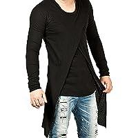 MASKAZU Men's Long Sleeves Black Asymmetrical Slit shirt