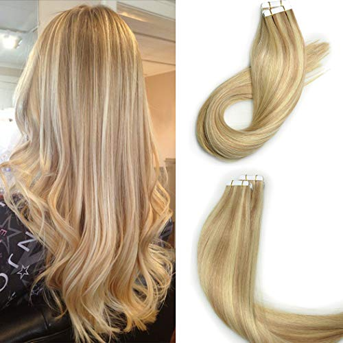 KOCONI 16inch Tape in extensions Remy Human Hair #18/613 Caramel Blonde Mixed Bleach Blonde Highlight Real Hair Tape in Extensions