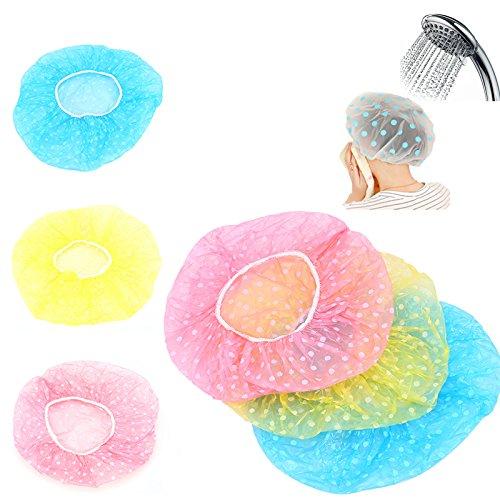 3Pcs Women Lady Waterproof Elastic Plastic Dot Shower Bathing Salon Hair Cap Hat