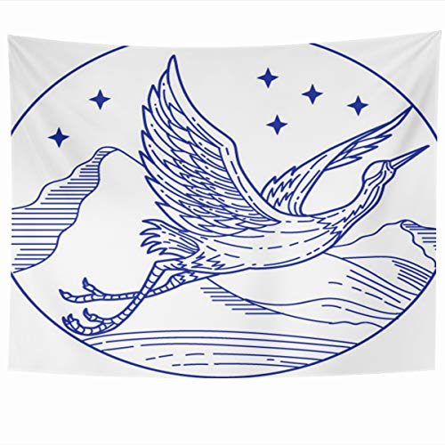- Ahawoso Tapestry Wall Hanging 60x50 Inches Bird Heron Mono Line Great Blue Simple Crane Circle Drawing Fly Graphic Design Mountain Home Decor Tapestries Art for Living Room Bedroom Dorm