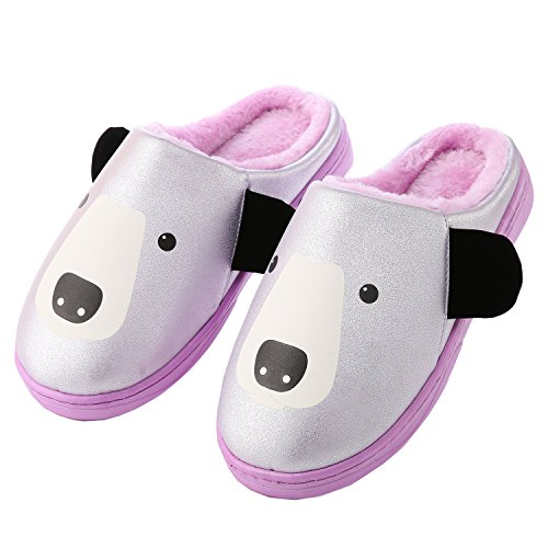 shoes family Unisex boots Cartoon leather PU slippers Purple winter home warm plush XvXwnZE4x
