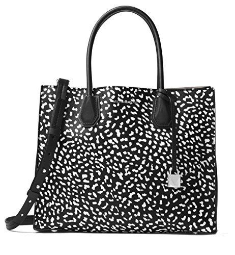 (MICHAEL Michael Kors Mercer Large Leopard Leather Tote Bag , Black White)