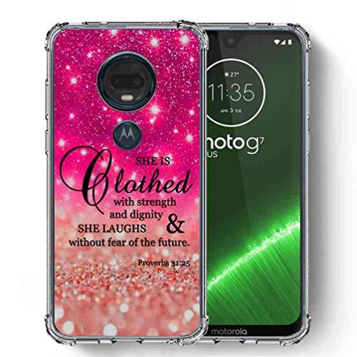 (for Motorola Moto G7 Case, Moto G7 Plus Case, SuperbBeast Ultra Slim Thin Protective Case w/Reinforced Corners Vector Floral Flowers Polka Dots [Glitter Pattern])
