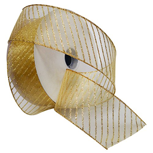 Morex Ribbon Striped Wired Sheer Glitter Organza Ribbon, 2-1/2-Inch by 50-Yard Spool, Multiple -