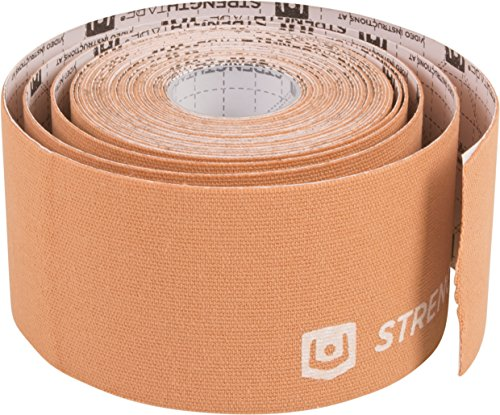 StrengthTape Kinesiology Tape, Beige, 5 Meter Uncut Roll, Breathable Stretch Cotton Athletic Tape Supports Painful Sports Injuries During Recovery - Even in Water by StrengthTape