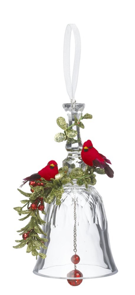 GANZ 7'' Kyrstal Kiss Ball Ornament, Double Cardinal Bell - Wedding Acrylic Kissing Crystal-like KK215
