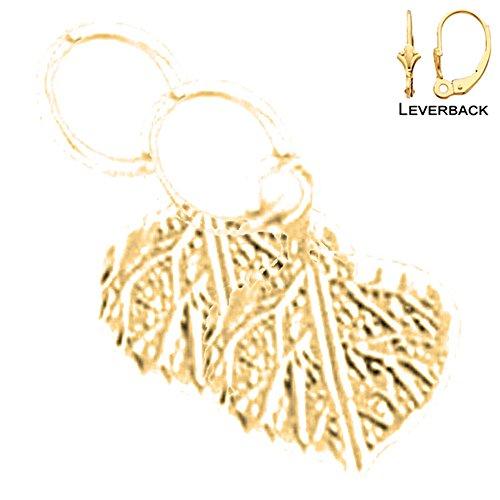 Jewels Obsession Leaf Earrings | 14K Yellow Gold Aspen Leaf Lever Back Earrings - Made in ()
