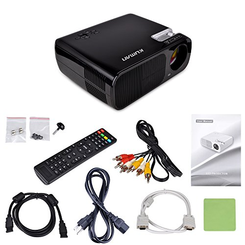 Video Projector Kuman Mini 1080P Portable HD Projector 2600 Lumens 800x480 Resolution with Many Accessories for Home Theater Cinema Black H2