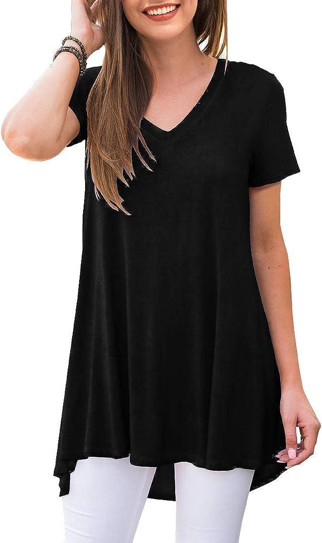 AWULIFFAN Women's Summer Casual Short Sleeve V-Neck T-Shirt Tunic Tops Blouse Shirts