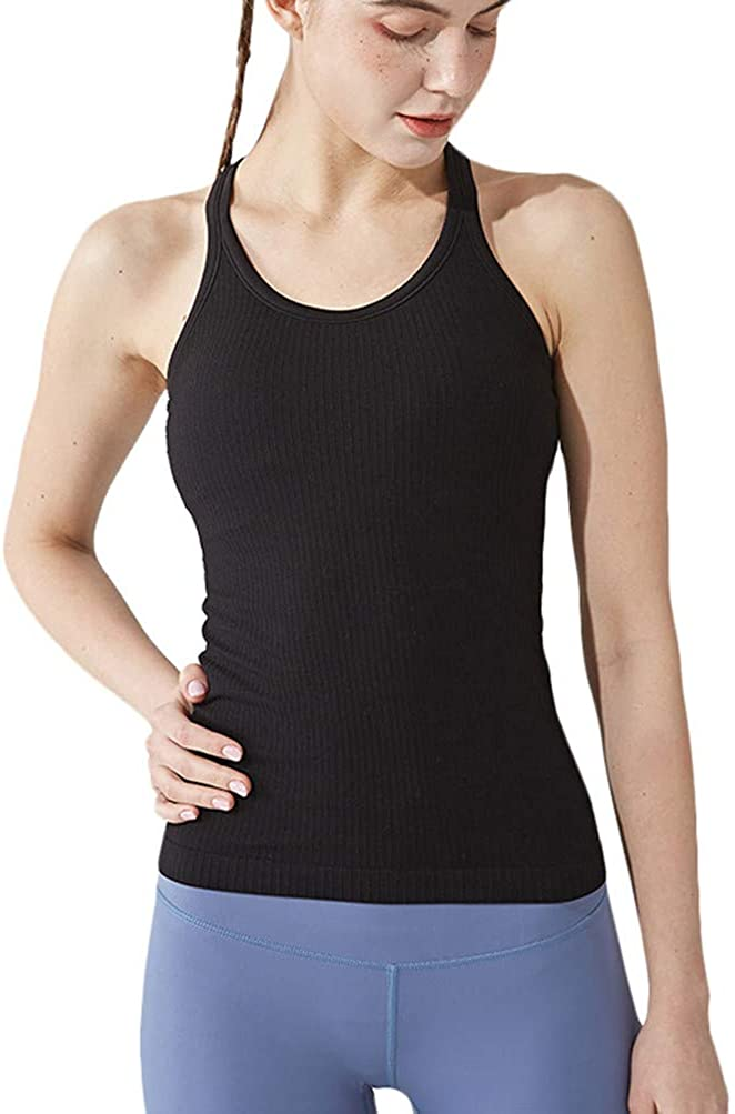 Yoga Racerback Tank Top for Women with Built in Bra,Women's Padded Sports Bra Fitness Workout Running Shirts: Clothing