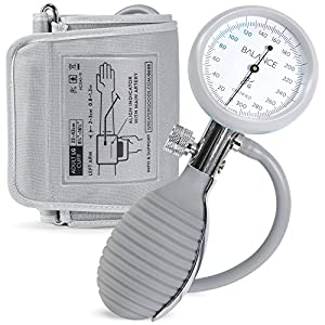 Sphygmomanometer Blood Pressure Monitor Cuff by Balance, Manual BPM, Large Adult Cuff Size with Monitor, Travel Case, & Bulb Kit. Use with Stethoscope (Certified Refurbish)