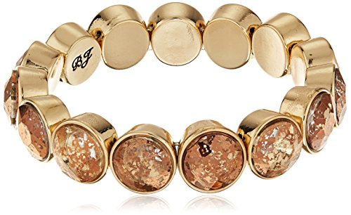 (Betsey Johnson Angels & Wings Patina Faceted Stone Stretch Bracelet)