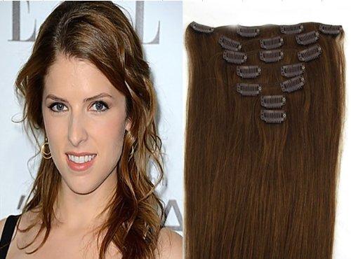 World Pride Модные прямой зажим в наращивание волос 20 дюймов 70 грамм № 6 каштановый