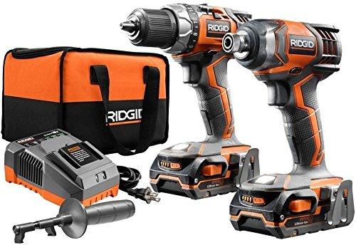 Ridgid Lithium-Ion Cordless Combo Kit 18v X4 Hammer Drill Impact Driver, R9602 .#GH45843 3468-T34562FD531978