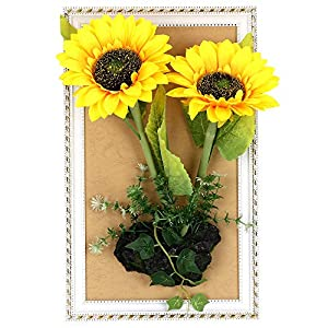 NBSY 16.8 x 10.3 in Wall Hanging Artificial Flowers with Wood Frame,Art Wall Decor for Office and Home (Big-Sunflower) 108