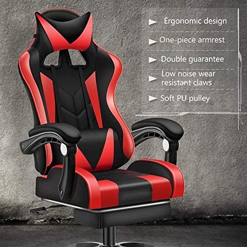 DBL Datorstol multifunktion spelstol höjd justerbar ergonomi spelstol med fotstöd hög rygg vilande kontor chiar med nackstöd och ländrygg stöd skrivbordsstolar