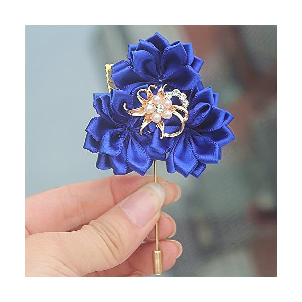 S-SSOY Boutonniere Bridegroom Groom Men's Boutonniere Groomsmen Best Man Boutineer with Pin Artificial Flower Brooch Corsage for Wedding Homecoming Prom Suit Decor Royal Blue Pack of 4