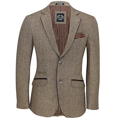 XPOSED Mens Brown Vintage Herringbone Tweed Blazer Smart Casual Designer Tailored Fit Jacket [Oak Brown,Chest UK 42 EU 52]