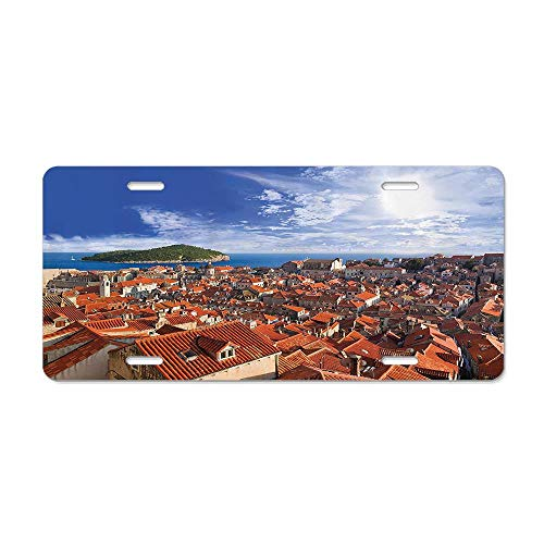 GRAETfpeoglsd Sunset of Dubrovnik City with The Island Mediterranean Culture Old Town Print Deco Customized License Plate Cover Aluminum Metal Car Licenses Plate Frame Holder for US Vehicles