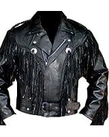Fringe Motorcycle Riding Leather Jacket-40